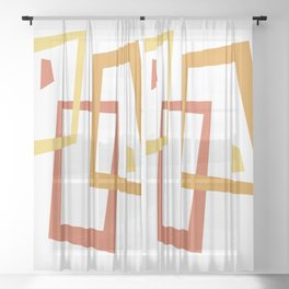 Geometric Square Abstract Pattern Sheer Curtain