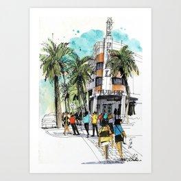 Tudor Hotel with Palms, South Beach Art Print
