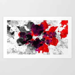 Abstract floral design, red bougainvilleas over monochrome Art Print