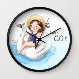 Go, Go, Swan! Let's Go! Wall Clock