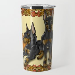 Manchester Terrier Autumn and Pumpkins Travel Mug