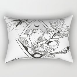 Alchemy symbol with moon and flowers Rectangular Pillow