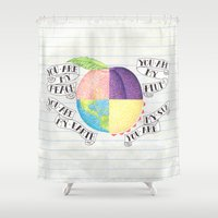 peach Shower Curtains featuring Peach by Larissa