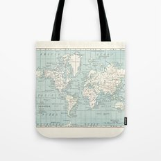 World Map in Blue and Cream Tote Bag
