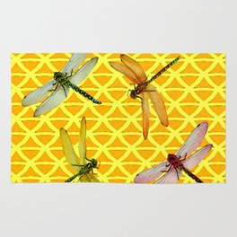 DRAGONFLIES PATTERNED YELLOW-BROWN ORIENTAL SCREEN Rug