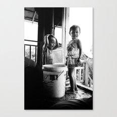 Kids & Water, Cambodia Canvas Print