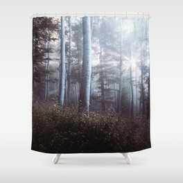 Forest Trees Sunrise Shower Curtain