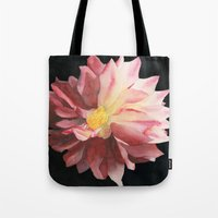 dahlia Tote Bags featuring Dahlia by Powers Fine Art Watercolor Studio