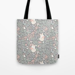 Sleeping Fox - grey pattern design Tote Bag