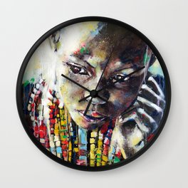 Reverie - Ethnic African portrait Wall Clock