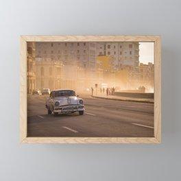 Oldtimer driving over the Malecon in Havana | Cuba travel photography Framed Mini Art Print