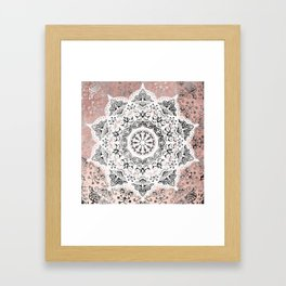 Dreamer Mandala White On Rose Gold Framed Art Print