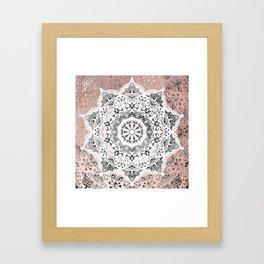 Dreamer Mandala White On Rose Gold Framed Art Print