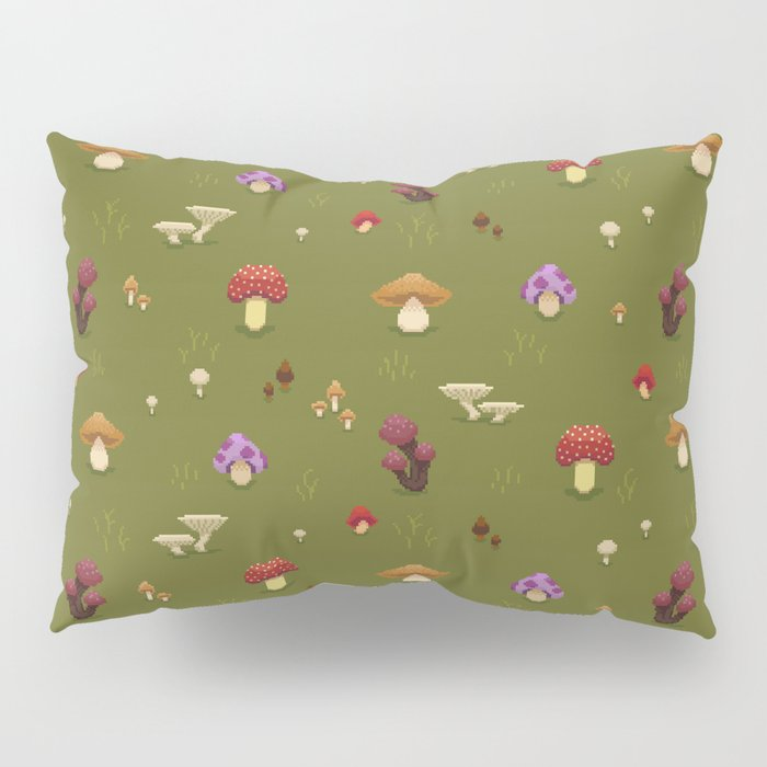 Pixel Mushrooms on Green Pillow Sham