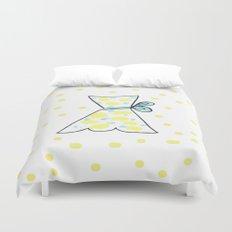 Yellow Polka Dot Blue Ribbon Dress Duvet Cover