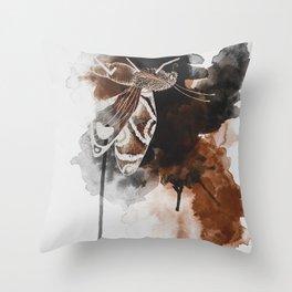 Brown Moth I Throw Pillow