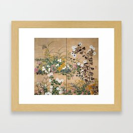 Ogata Korin Flowering Plants in Autumn Framed Art Print