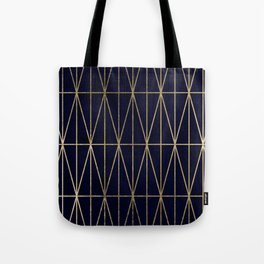 Modern gold geometric triangles pattern navy blue watercolor Tote Bag