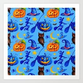 Halloween Jack-o-Lanterns, Witches' Hats & Brooms Pattern Art Print