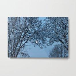 Morning Winter Moon Metal Print