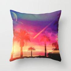 Neon Beach Throw Pillow