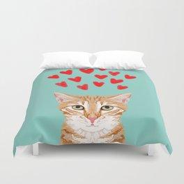 Mackenzie - Orange Tabby Cute Valentines Day Kitten Girly Retro Cat Art cell phone Duvet Cover