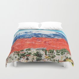 Pikes Peak Behind the Garden of the Gods Duvet Cover