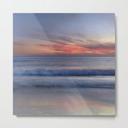 Magical Waves. Square.  Tarifa Beach At Red Sunset Metal Print