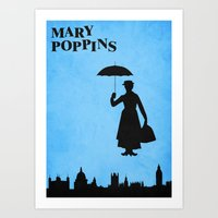 mary poppins Art Prints featuring Mary Poppins by TheWonderlander