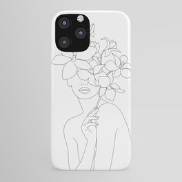 Minimal Line Art Woman with Orchids iPhone Case