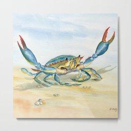 Colorful Blue Crab Metal Print