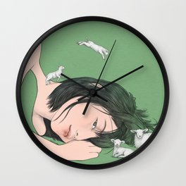 GIRL WITH SHEEP Wall Clock