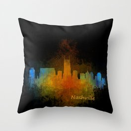 Nashville city skyline Tennessee watercolor v4 Dak Throw Pillow