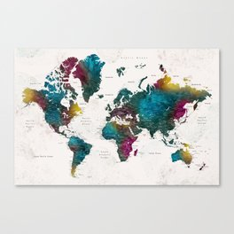 Watercolor world map with cities, Charleena Canvas Print