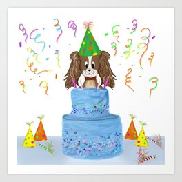 Happy Birthday With Cavalier King Charles Spaniel And Cake Art Print