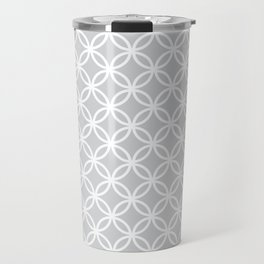 Gray and white interlocking circles Travel Mug