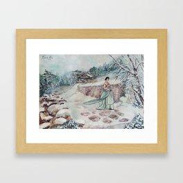 Korean Winter (Watercolor painting) Framed Art Print