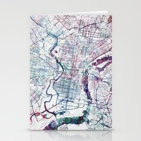 philadelphia Stationery Cards featuring Philadelphia map by MapMapMaps.Watercolors