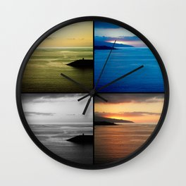 Quadriptych seascape at sunset Wall Clock