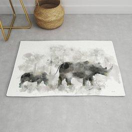 Rhino and Calf Rug