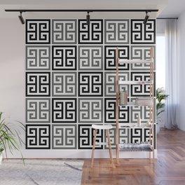 Gray Black And White Greek Key Pattern Wall Mural