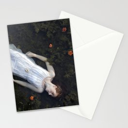 Floating Lady in white Stationery Cards