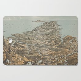 Vintage Pictorial Map of India from Himalayas (1857) Cutting Board