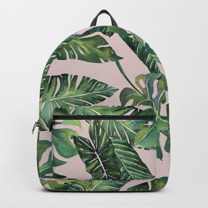 Jungle Leaves, Banana, Monstera Pink #society6 Backpack