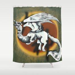 Okami Wolf Dragon Shower Curtain