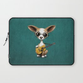 Chihuahua Puppy Dog Playing Old Acoustic Guitar Teal Laptop Sleeve