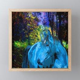 FANTASY HORSE BLUE I MET IN THE FOREST Framed Mini Art Print