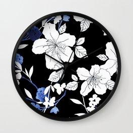 Black White Blue Floral Wall Clock