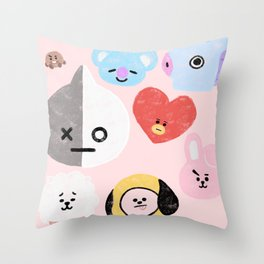 BTS21 Characters in Pastel Throw Pillow