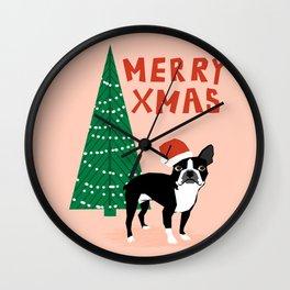 Boston Terrier Xmas - christmas tree holiday pet dog lover gift with boston terrier cute santa hat  Wall Clock